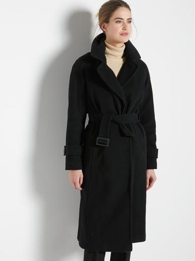 Manteau en drap de laine, 7% cachemire