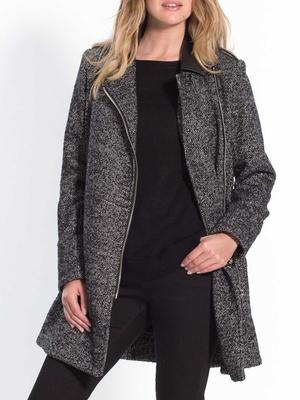 Manteau bi matière, tweed et simili