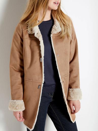 Manteau aspect peau lainée