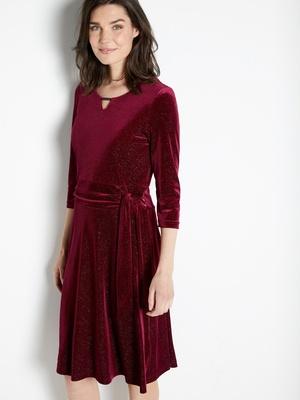 Robe drapée avec noeud, maille velours