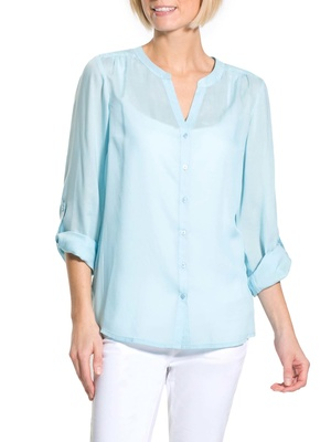 Blouse unie, encolure ronde