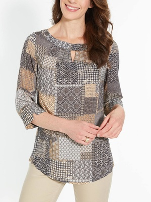 Blouse patchwork, manches 3/4