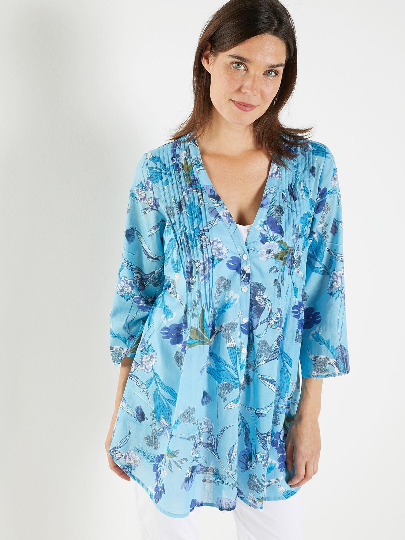 styles de mode ramasser détaillant en ligne Chemisier-tunique en voile pur coton