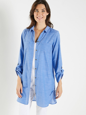 Chemisier long, chambray pur coton