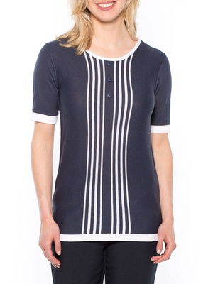 Pull à rayures, manches courtes