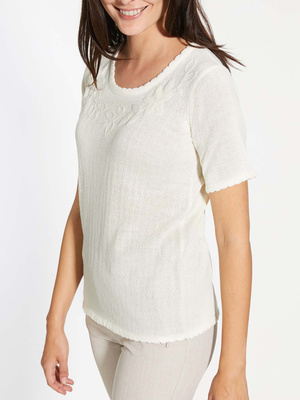 Pull brodé, manches courtes