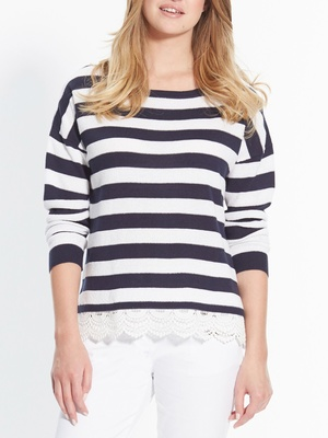 Pull rayé manches longues
