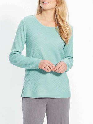 Pull maille fantaisie, encolure ronde