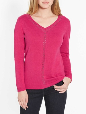 Pull encolure V, détails strass fantaisi