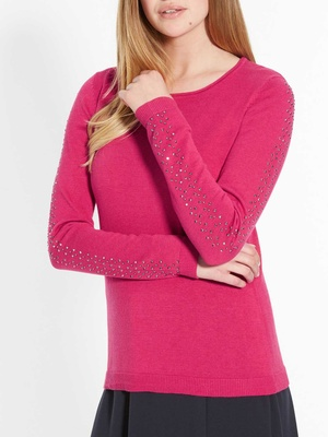 Pull encolure ronde strass fantaisie