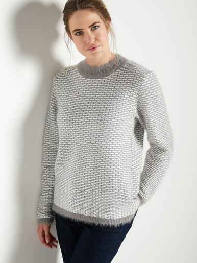 Pull maille fantaisie, col montant
