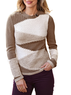 Pull effet patchwork, encolure ronde