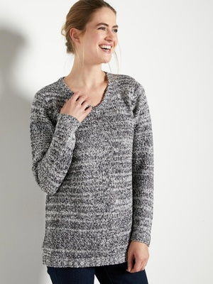 Pull col V, maille chinée