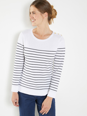 Pull marinière, manches longues