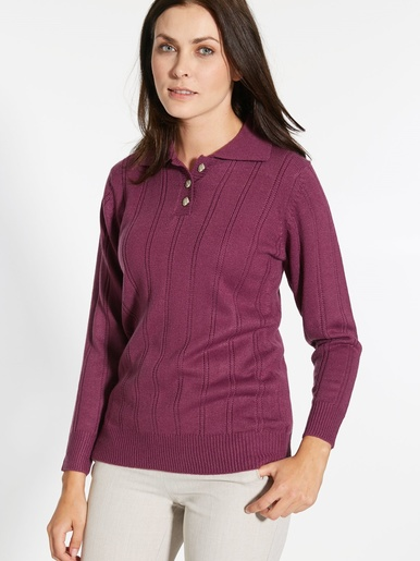 Pull col polo, maille fantaisie