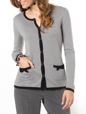Cardigan bicolore 10% laine