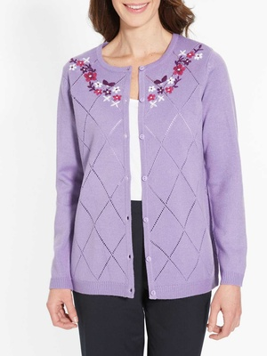 Cardigan maille fantaisie, encolure brod