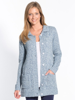 Cardigan chiné col polo