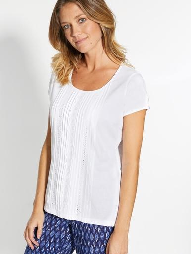 Tee-shirt macramé et plis piqués devant