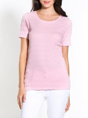 Tee-shirt en maille gaufrée, manches cou