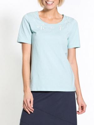 Tee-shirt brodé pastel, manches courtes