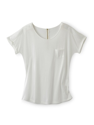 Tee-shirt détails sequins, zippé au dos