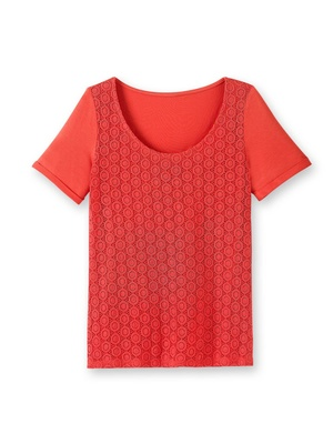 Tee-shirt maille et dentelle, manches co