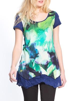 Tee-shirt tunique à base asymétrique