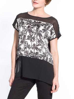 Tee-shirt bi-matière, devant imprimé