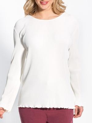 Tee-shirt uni maille au plissé permanent