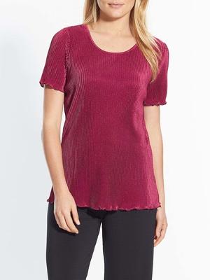 Tee-shirt maille plissé, manches courtes