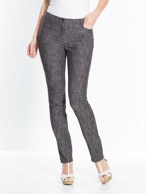 Pantalon droit en tissu tramé extensible