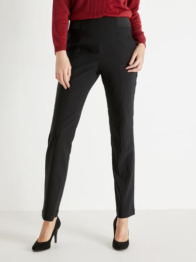 Pantalon effet ventre plat, tissu uni