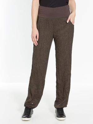Pantalon en tissu froissé, ceinture conf