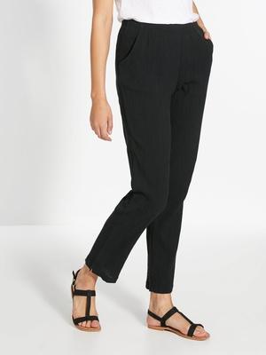 Pantalon en tissu créponné pur coton
