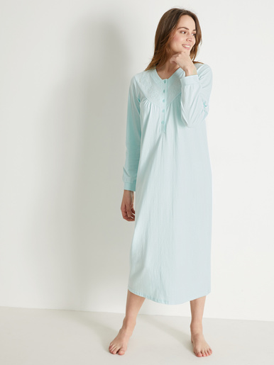 Chemise de nuit en jersey brodée