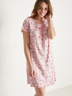 Chemise de nuit coton, manches courtes