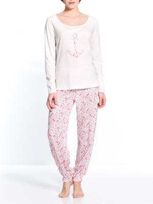 Pyjama imprimé fleuri bi-matière