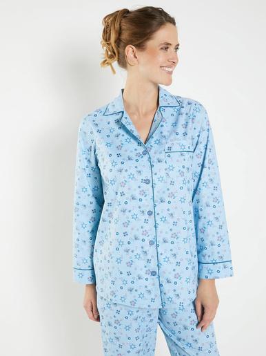 Pyjama boutonné en popeline pur coton