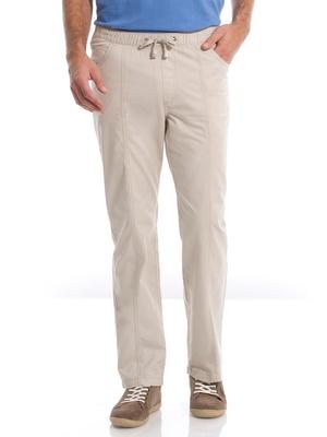 Pantalon droit coton, taille élastiquée