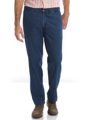 Jean droit pur coton, taille élastiquée