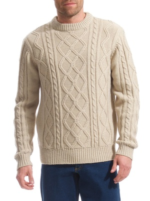 Pull style irlandais col rond, 30% laine