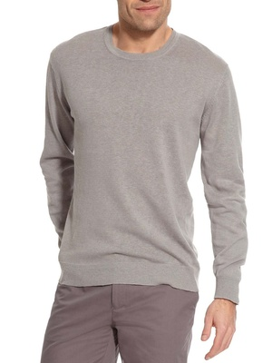 Pull coton et lin, col rond