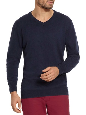 Pull V coton soie
