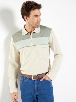 Polo à col zippé, manches longues