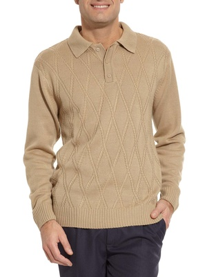Pull col polo manches longues