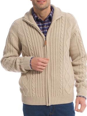 Gilet zippé, style irlandais, 30% laine