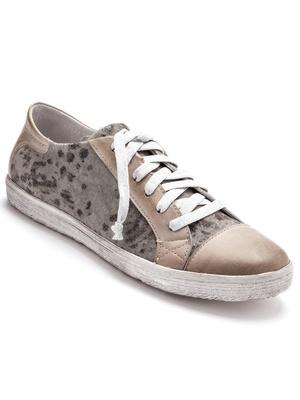 Sneakers lacées, bi-matière