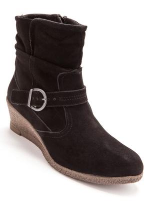 Boots à boucle fantaisie, talon compensé