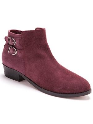 Boots cuir velours, grande largeur